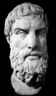 Marble bust of Epicurus.