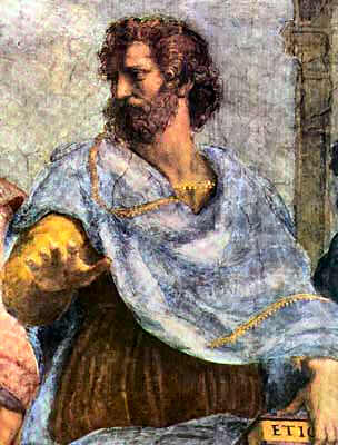 Aristotle in Raphael's 1509 painting, The School of Athens