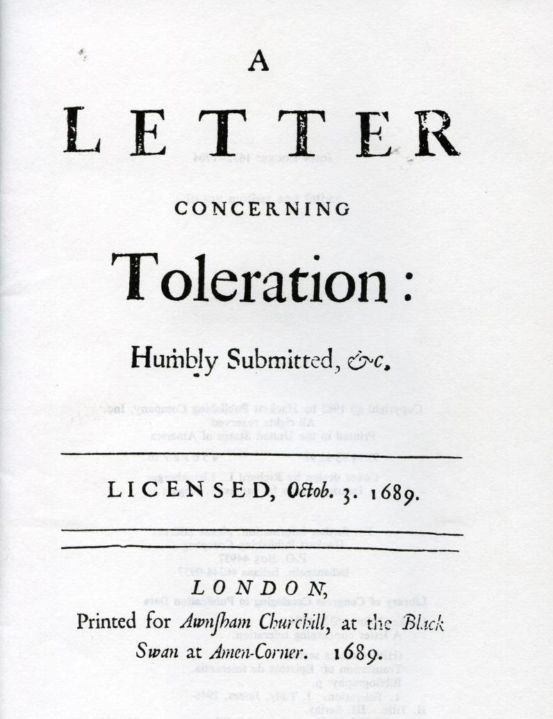 Title page of the first edition of A Letter Concerning Toleration.